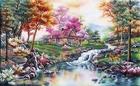 Tranh theu chu thap, tranh da quy, tranh dong: Cây bên bờ suối