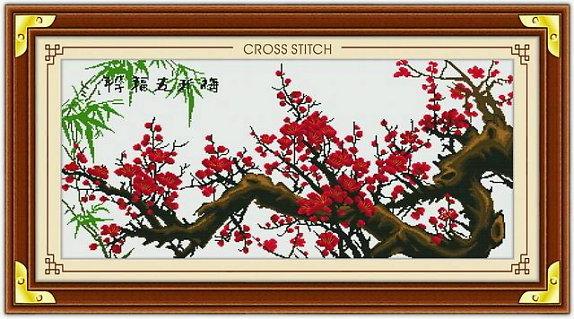 Tranh theu chu thap, tranh da quy, tranh dong: Cành đào đỏ