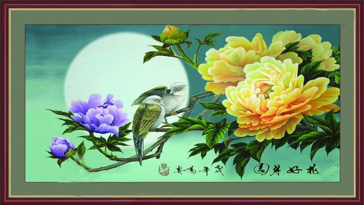 Tranh theu chu thap, tranh da quy, tranh dong: Hoa hảo nguyệt viên