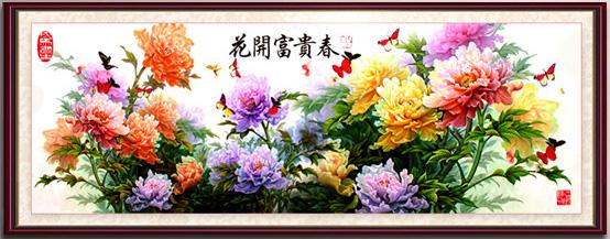 Tranh theu chu thap, tranh da quy, tranh dong: Hoa khai phú quý
