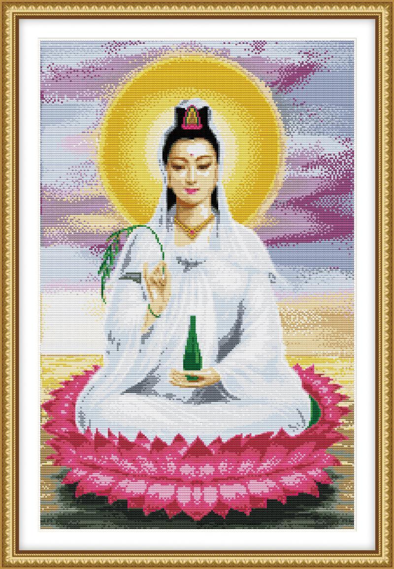 Tranh theu chu thap, tranh da quy, tranh dong: Phật bà tọa đài sen