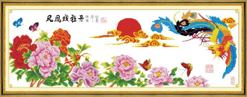 Tranh theu chu thap, tranh da quy, tranh dong: Phượng hoàng mẫu đơn