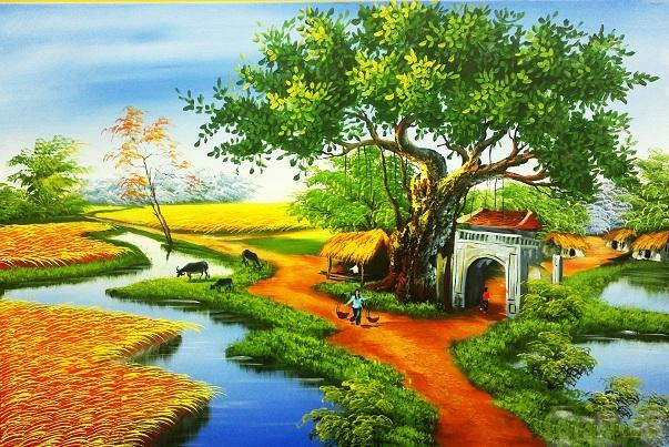 Tranh theu chu thap, tranh da quy, tranh dong: Làng quê: PC14