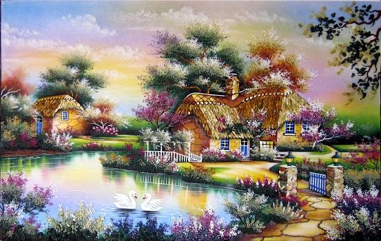 Tranh theu chu thap, tranh da quy, tranh dong: Ngôi nhà hạnh phúc
