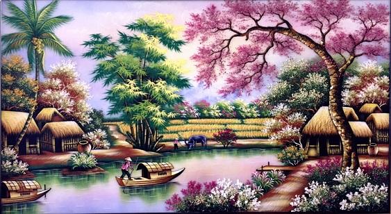 Tranh theu chu thap, tranh da quy, tranh dong: Đồng quê