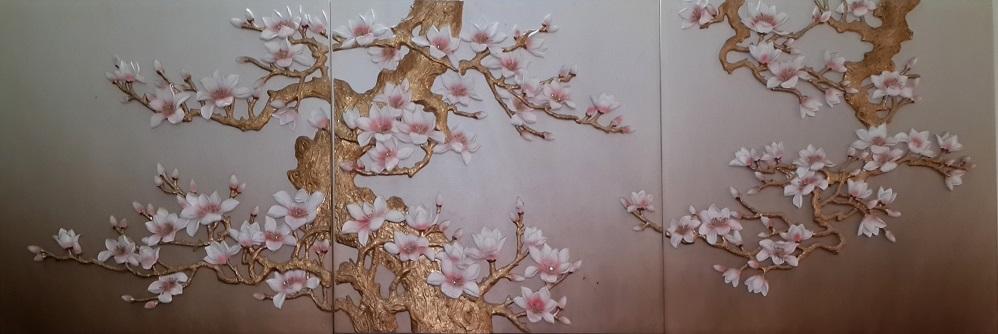 Tranh theu chu thap, tranh da quy, tranh dong: Hoa Ngọc Lan: TB01
